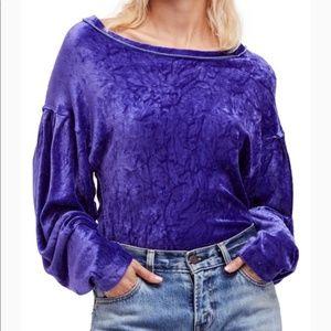 Free People SM Milan Velvet Pullover Layering Top